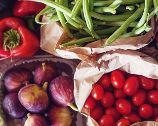 image of vegetables including tomatoes, beets, green beans and corn