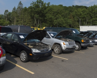 A row of surplus NYS vehicles ready to be auctioned.