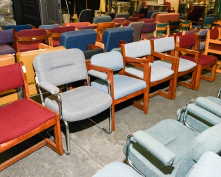 View of a row of old office chairs.