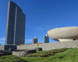 View of the Governor Nelson A. Rockefeller Empire State Plaza with Corning Tower and The Egg.