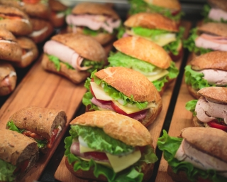 Platter of sandwiches.
