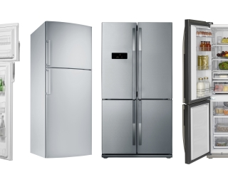 View of various domestic refrigerators on display.