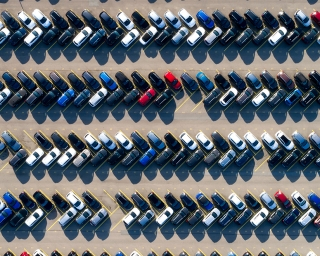 arial shot of a car lot