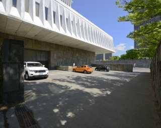 View of the parking lot in the Cultural Education Center Alcove.