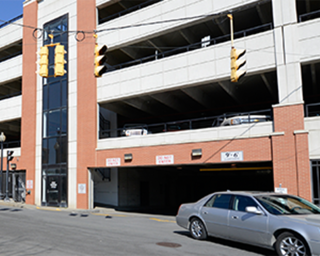 View of the outside of the multi-level East Garage.