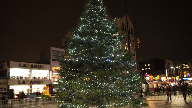 View of the Holiday Tree at the Adam Clayton Powell, Jr. State Office Building in Harlem.