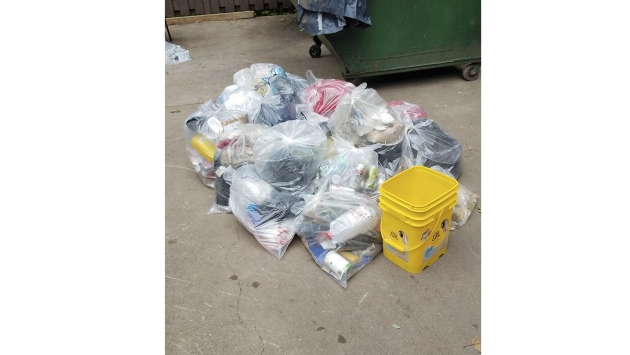 A picture of sorted waste done during a waste audit.
