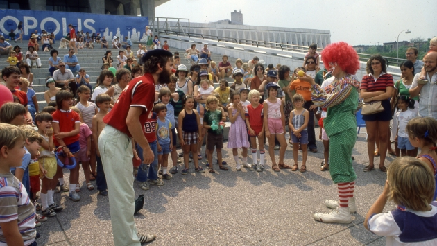 A performance at the Children's Fair on the Plaza, 1981.