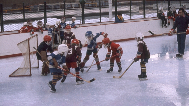 A hockey game at Winter Festival on the Plaza rink, 1977.