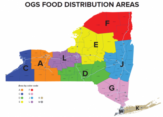 a picture of the state of new york with color coded regions for ogs food distribution areas on it