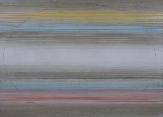 Untitled painting by Ed Clark showing tonal colors of tan, yellow, blue and pink in a layered horizontal pattern.