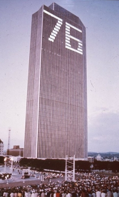 Corning Tower lit with 76 for the Bicentennial.