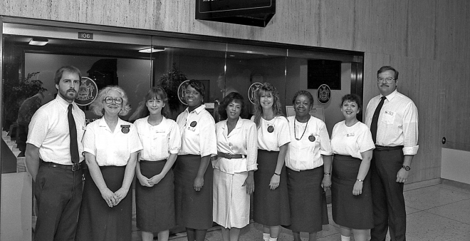 A group of OGS Capitol Tour Guides, late 1980s.