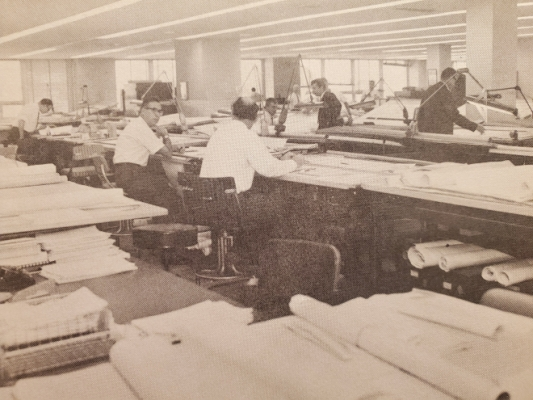 Historic photo of a drafting room from 1967.