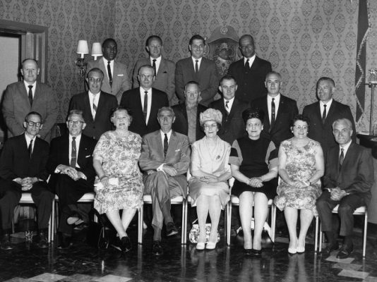 Commissioner Schuyler and a group of OGS employees during the 1960s.